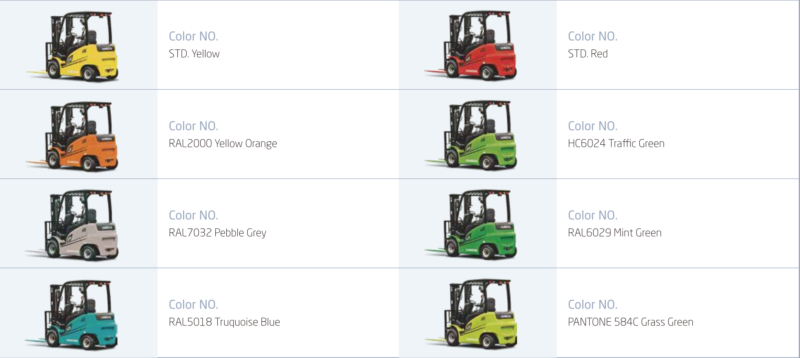 Bảng màu xe nâng điện Hangcha 1 -3.5 tấn